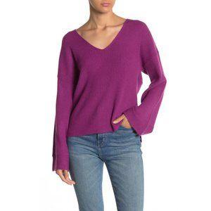 NWT Free Press V-Neck Ribbed Sweater Purple Size S